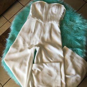 Jessica Simpson fringe strapless jumpsuit sz small